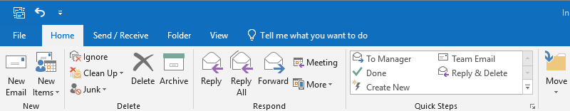 Outlook File menu
