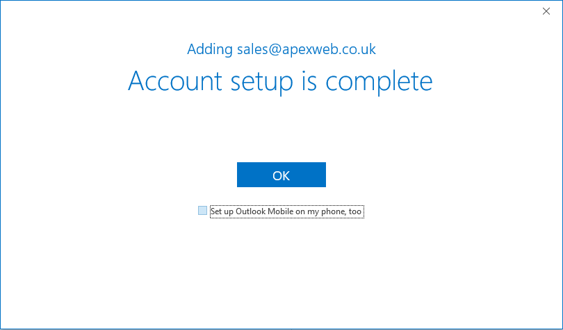 Outlook Account setup complete