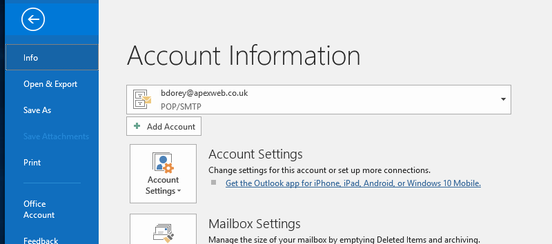 Outlook Account Information Menu